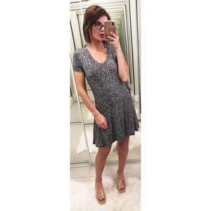 Anthropologie Dolan Ribbed Flare Dress in Gray